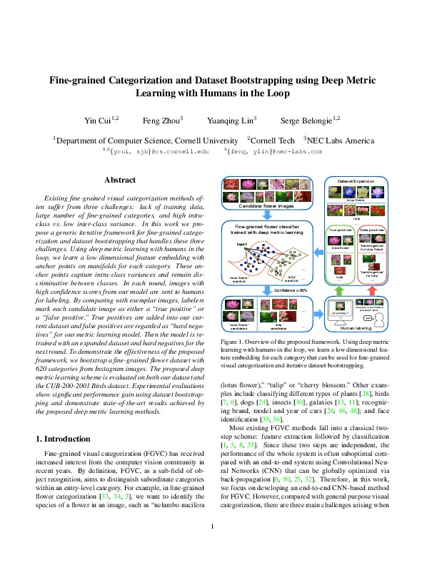 Fine-grained Categorization and Dataset Bootstrapping using Deep Metric Learning with Humans in the Loop