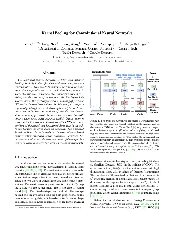 Kernel Pooling for Convolutional Neural Networks