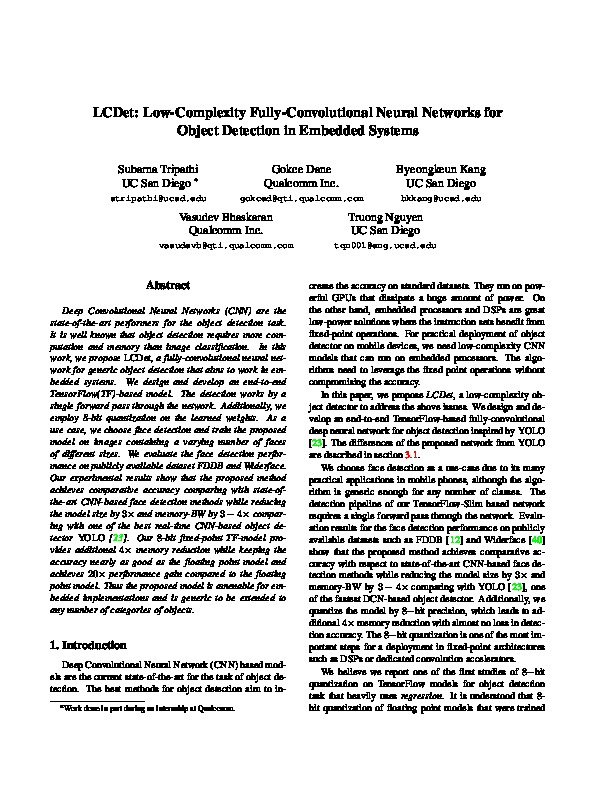 LCDet: Low-Complexity Fully-Convolutional Neural Networks for Object Detection in Embedded Systems