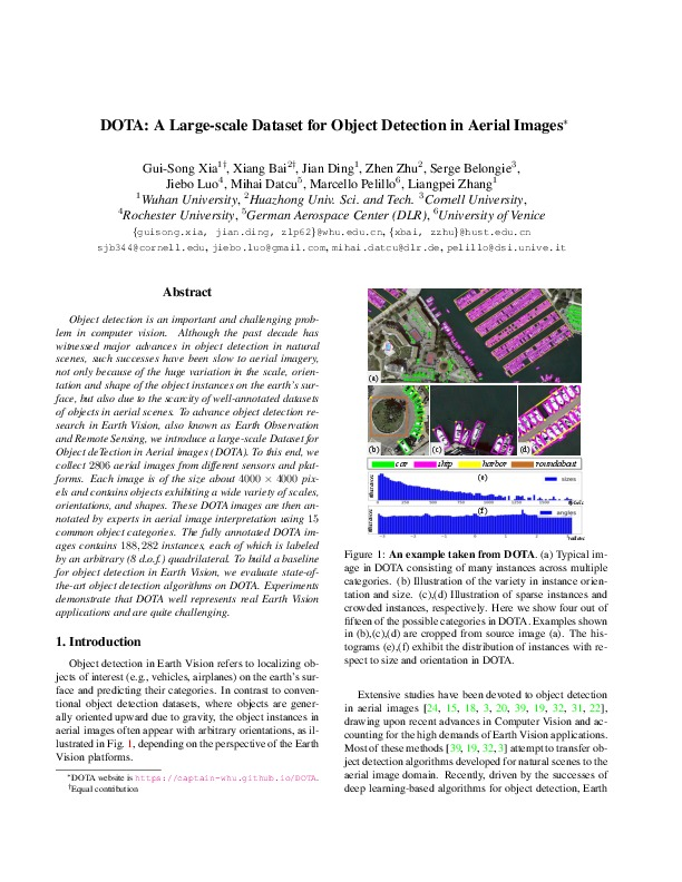 DOTA: A Large-scale Dataset for Object Detection in Aerial Images