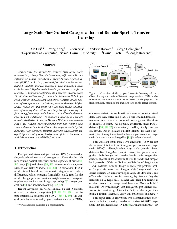 Large Scale Fine-Grained Categorization and Domain-Specific Transfer Learning