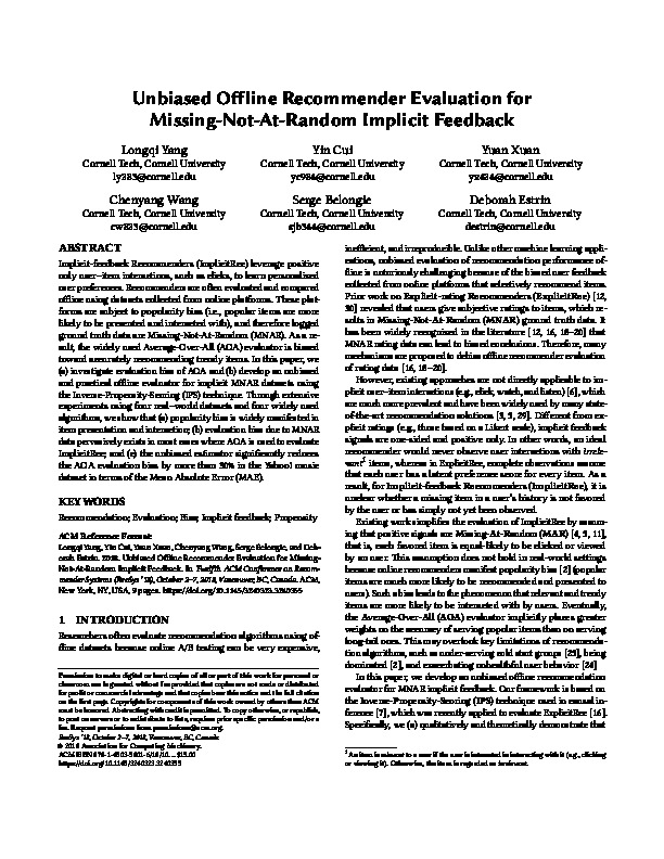 Unbiased Offline Recommender Evaluation for Missing-Not-At-Random Implicit Feedback