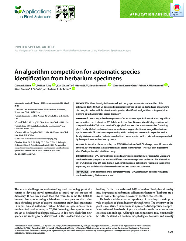 An algorithm competition for automatic species identification from herbarium specimens